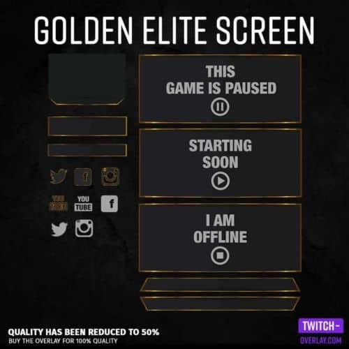 Screen for streamers in Golden Elite design