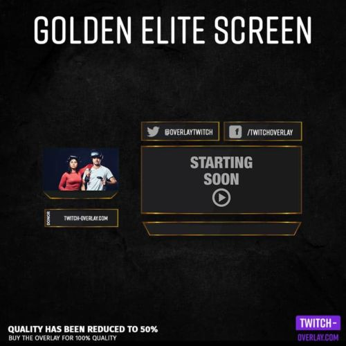 Preview Picture mocked up Screen for streamers in Golden Elite design