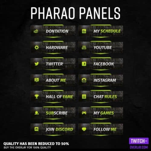 Pharaoh streaming panels für Twitch preview image mit allen panels in der Farbe Hell-Grün