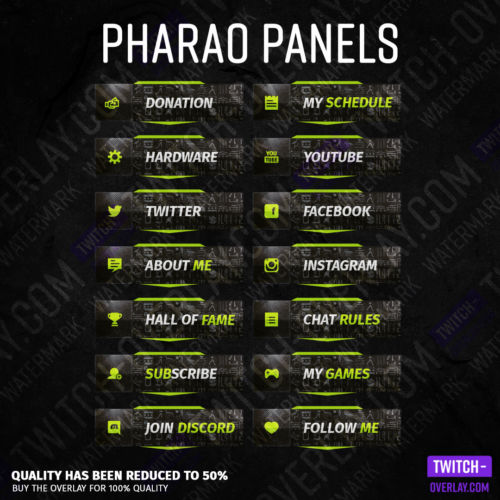 Pharaoh streaming panels for Twitch preview image with all panels in the color lime