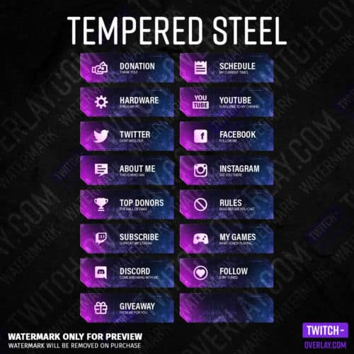 Twitch panels Tempered Steel in the color pink