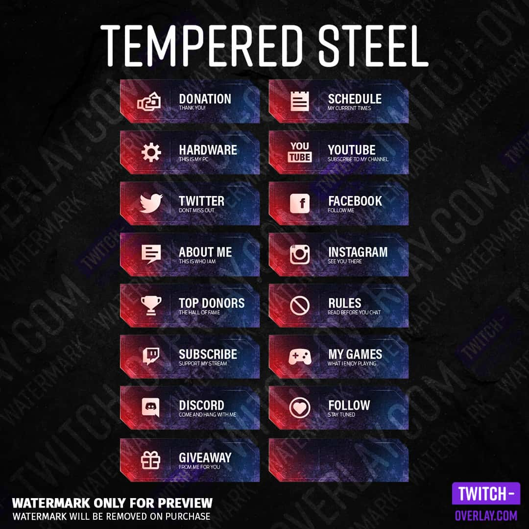 Twitch panels Tempered Steel for Twitch stream sin the color red