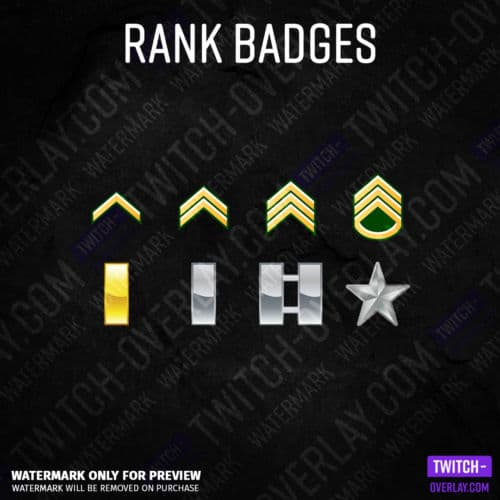 Twitch Subscriber Badges in US Army rank insignia Optics