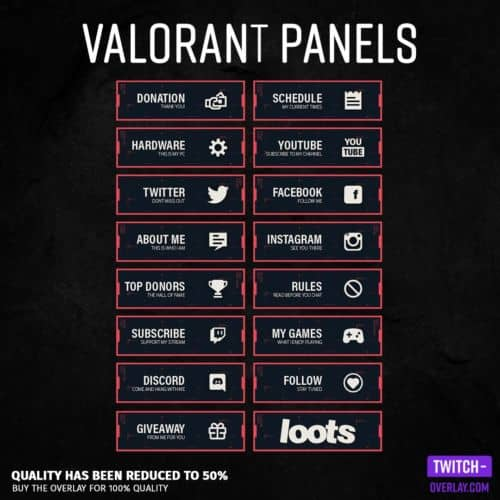 Valorant Twitch Panels für Twitch, preview Bild mit allen panels in der Farbe Rot