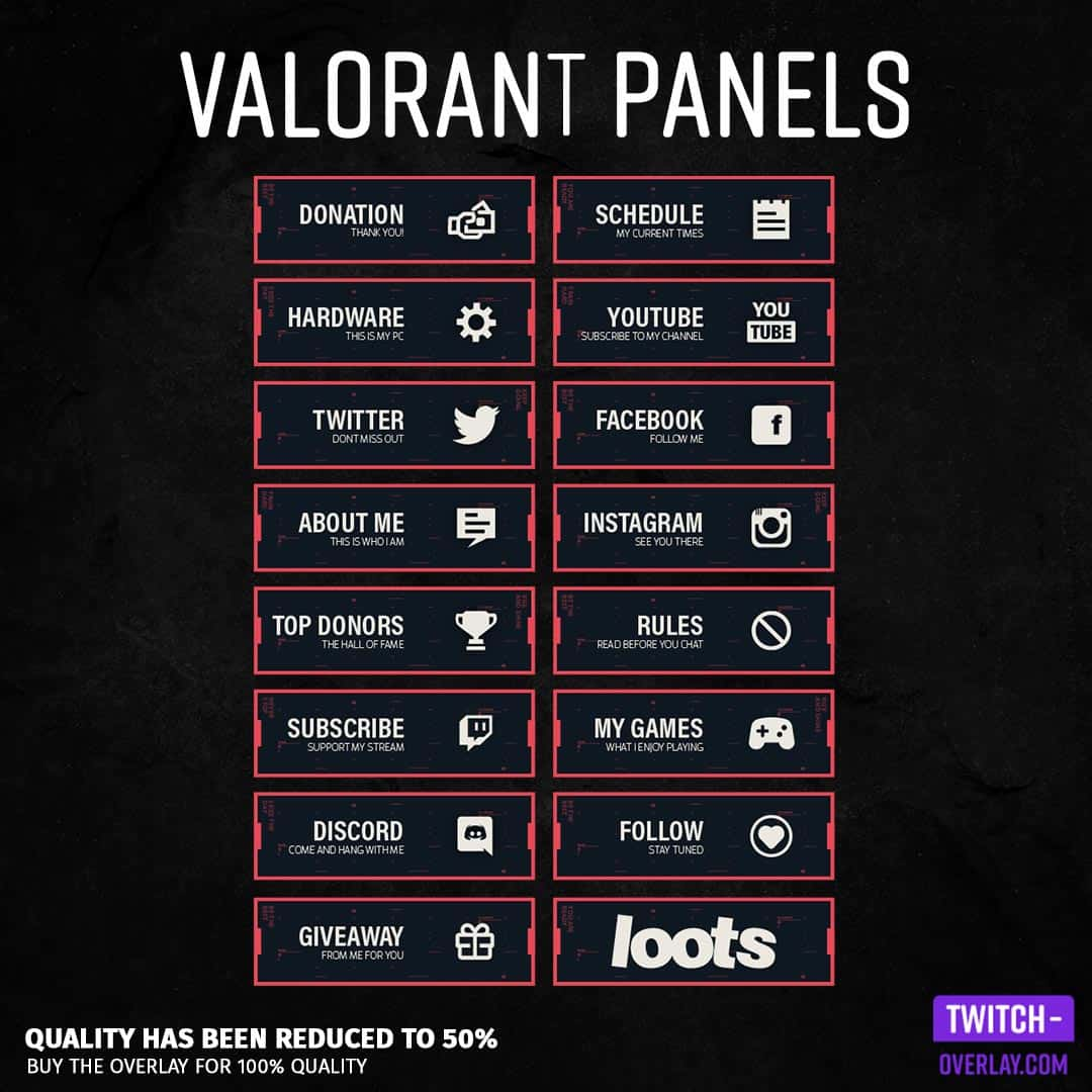 Valorant Twitch Panels for Twitch preview image with all panels in the color red