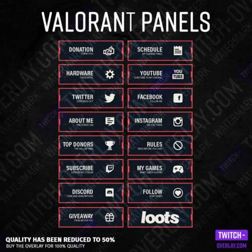 Valorant Twitch Panels for Twitch preview image with all panels in the color red in high resolution
