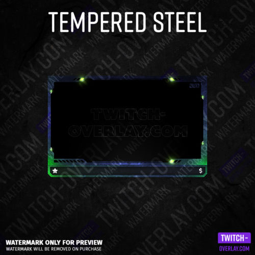 Webcam Overlay Tempered Steel für Twitch-Streams in der Farbe Grün