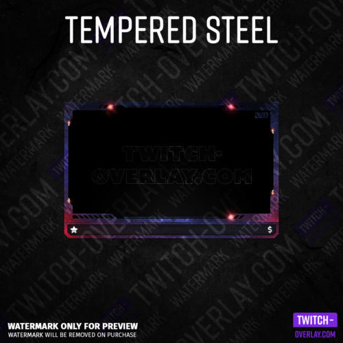 Webcam Overlay Tempered Steel für Twitch-Streams in der Farbe rot