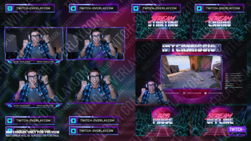 80er Synthwave Stream Bundle Overlay Compilation Preview