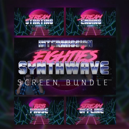 80s Synthwave Screen Bundle for Twitch, YouTube and Facebook streams Thumbnail