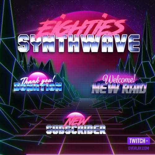 80s Synthwave Stream Alert Pack for Twitch, YouTube and Facebook streams