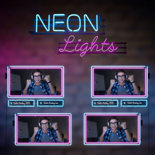 Animated Webcam Bundle form the Neon Lights theme for Twitch, YouTube and Facebook