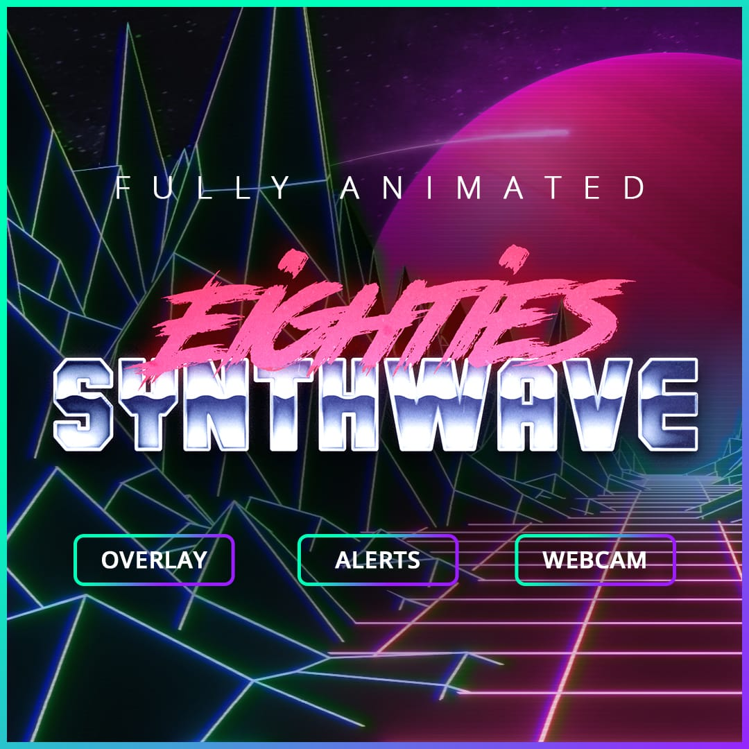 Animated Twitch Overlay for Streams, 80s Synthwave 2nd best animated overlay 2020