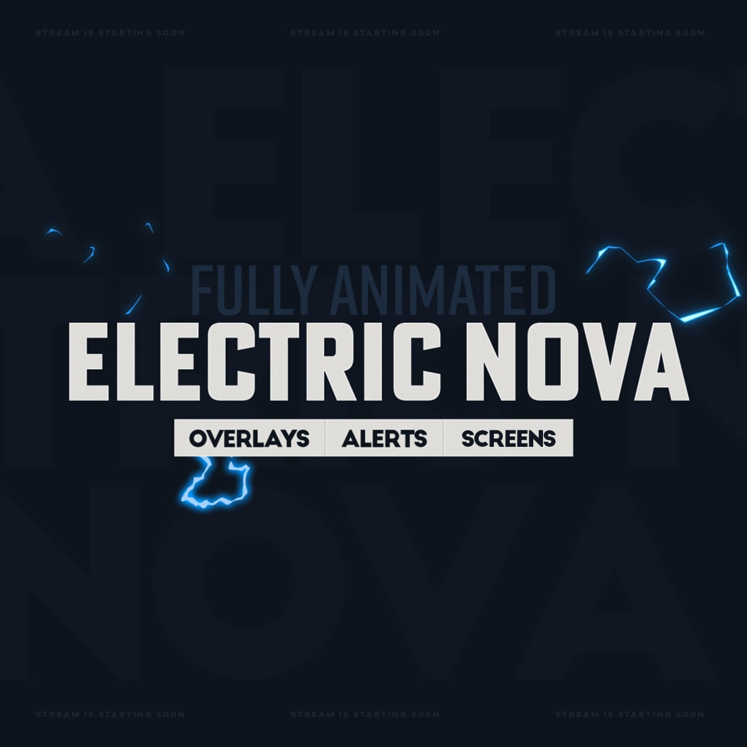 Twitch Overlay Template for Stream, Electric Nova