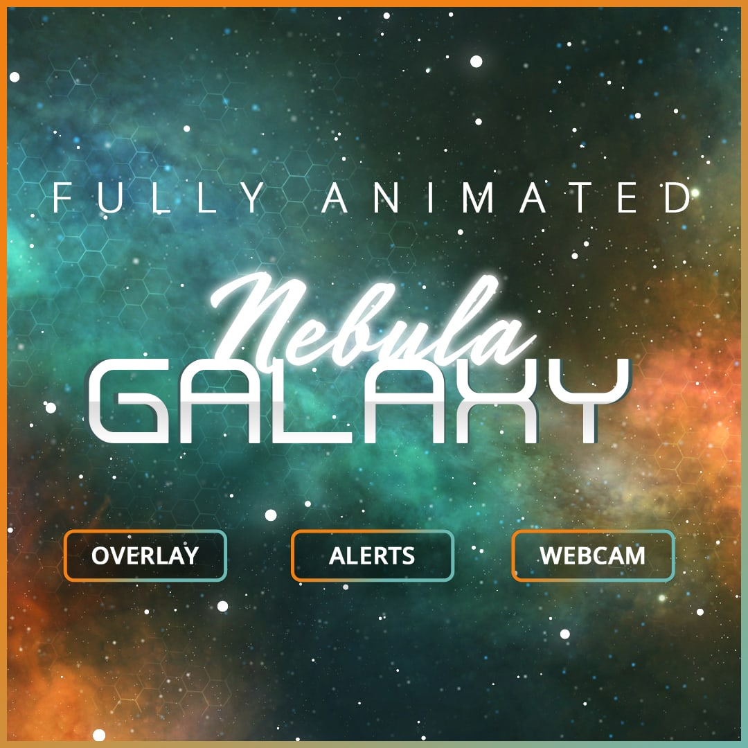 Twitch Overlay Template for Streams, Nebula Galaxy Template
