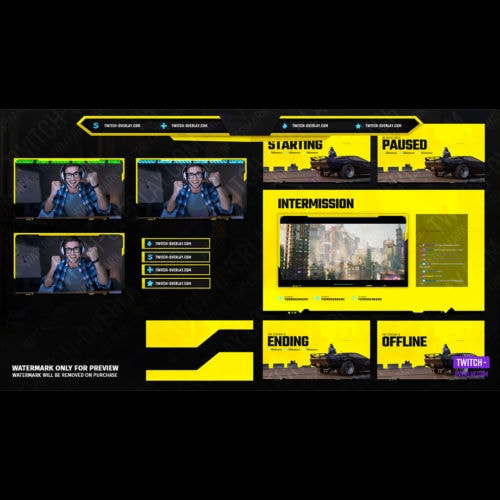 Screen Compilation animiert - für das Cyberpunk 2077 Stream Bundle für Twitch, YouTube und Facebook