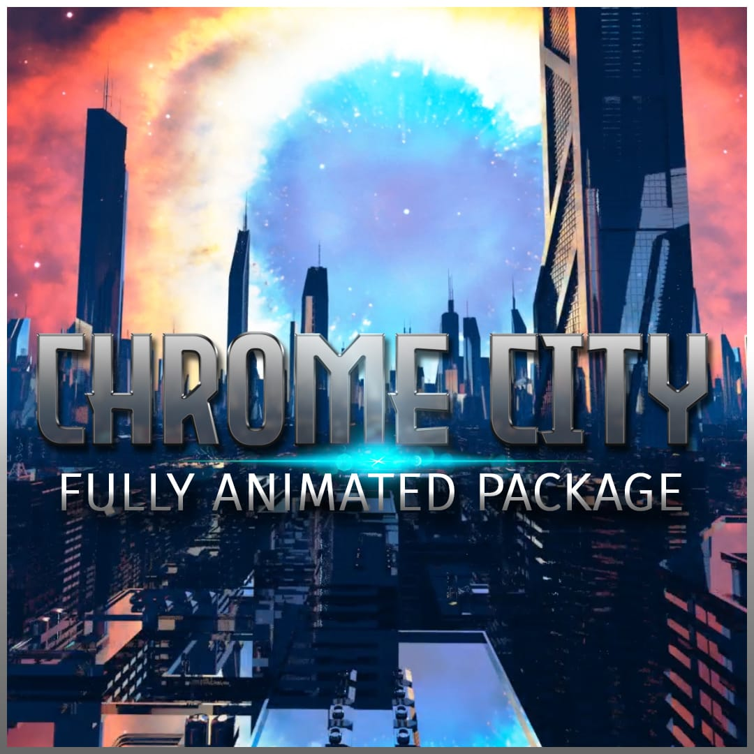 Twitch OVerlay Template animated Chrome City Bundle