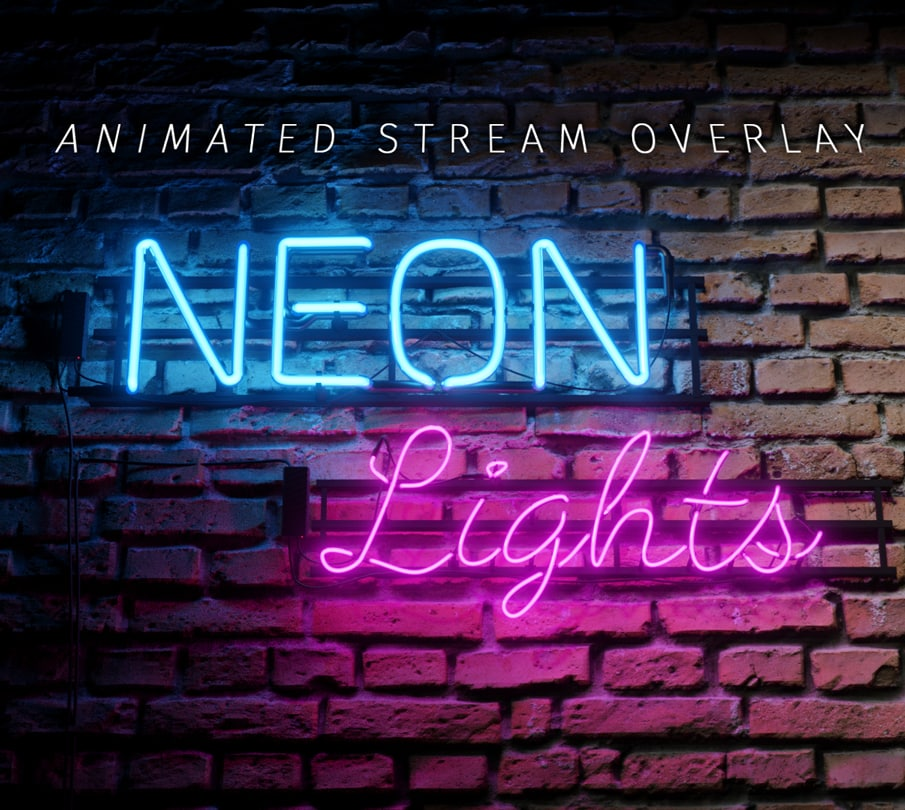 Twitch overlay template for streams, neon lights template